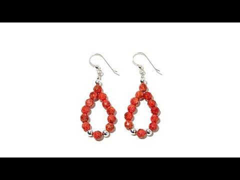 Jay King Red Coral Bead Loop Drop Earrings