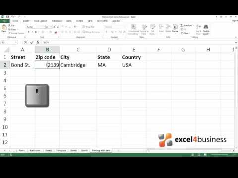 How to Enter Values Starting with Zero in Excel 2013