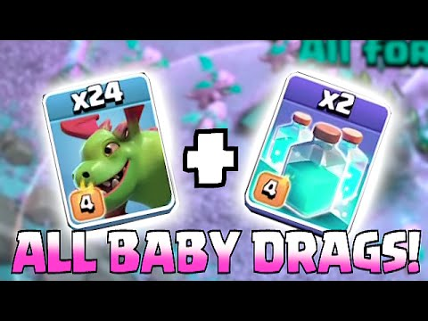 Clash Of Clans - 30 BABY DRAGONS! W/ Clone Spells!! (Air Raids On TH11)