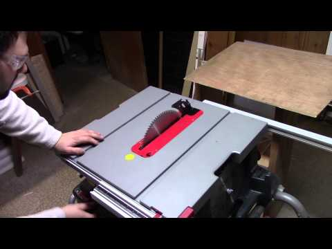 Cutting HDPE Plastic plate on table saw