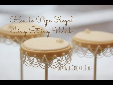How to Pipe Basic Royal Icing Stringwork and Halloween Spider Web Cookie Pops