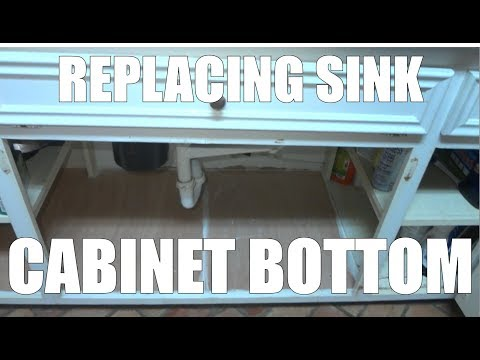 Replacing a sink base cabinet bottom floor after water leak damage