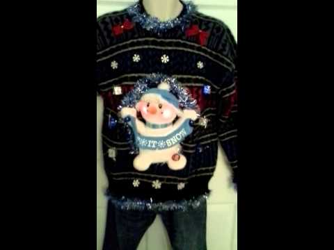 Animated Singing Snowman Ugly Christmas Sweater