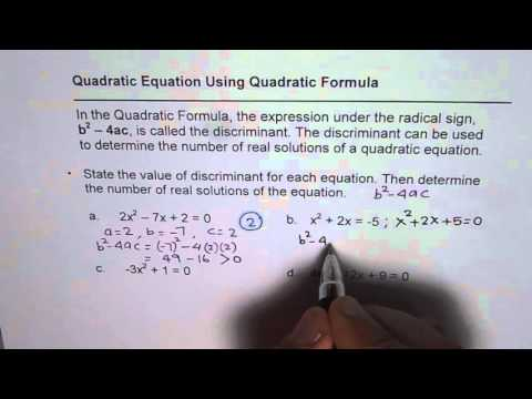 Understand Discriminant to Find Number of Real Solutions of Quadratic Equation