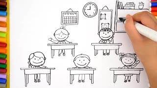 How To Draw Classroom For Kids -  Learn Colors and Coloring Pages for Kids