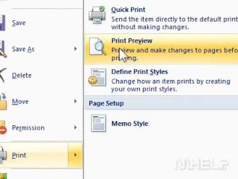 How to preview a page before printing in Outlook