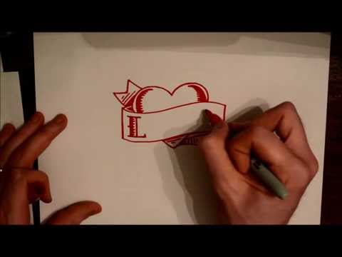 How to draw a heart tattoo with banner and name or word
