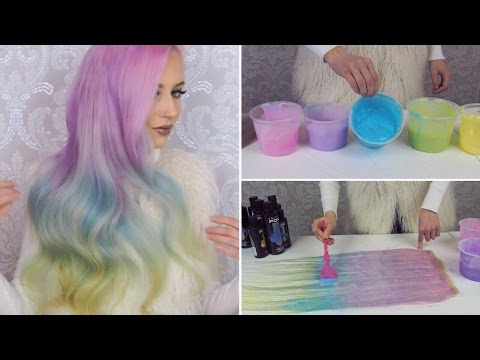 Dying hair extensions pastel rainbow