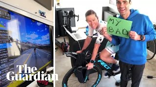 Triathlete's virtual race ended after husband pulls out plug
