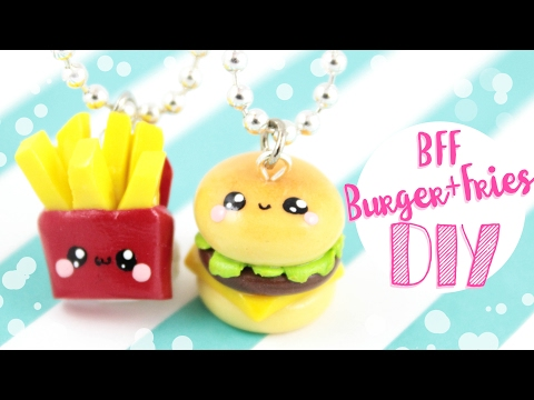 ♡ DIY Burger & Fries BFF CHARMS!! ♡ | Kawaii Friday