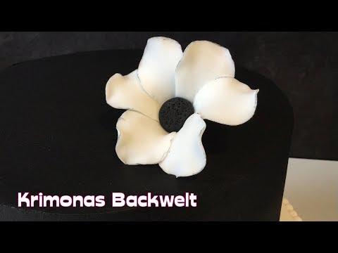 Fondant Blume Schwarz -Weiß herstellen / How to make a Black & White Fondant Flower