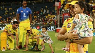 Dhoni Plays with His Daughter Ziva After Winning Shot Six | CSK VS KXIP