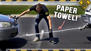 Pulling A CAR with a Paper Towel Rope
