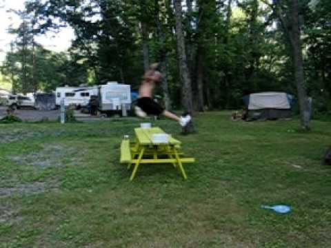 Jump Over Beer Pong Table Camping Trip 2010 Daniel Flavell
