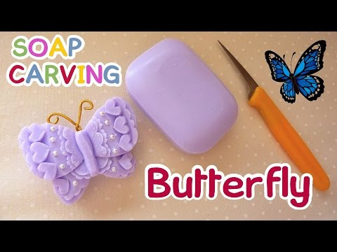 SOAP CARVING| Butterfly | Mariposa | Easy | How to carve | Soap Decoration | DIY | ASMR |