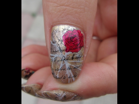 Aliexpress Red Metal Stamper Review ~ Vintage love letters with roses Nail art tutorial ~