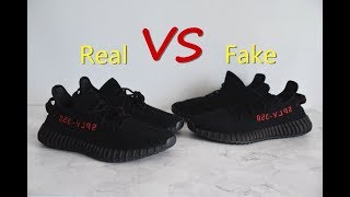 """separation shoes ae928 bd593 Real VS Fake   Yeezy Boost 350 V2 """"Bred"""" Comparison Review"""