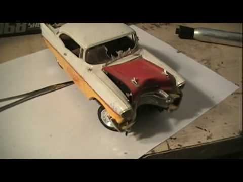 HOW TO MAKE YOUR PLASTIC MODEL CAR JUNKER LOOK LIKE IT WRECKED INTO A TREE OR POLE LESSON 3