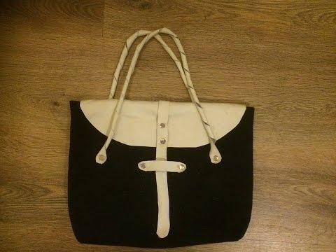 Make a canvas leather bag part 2