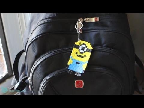 Hama Beads Minion | Perler Beads Minion Keychain and Magnet