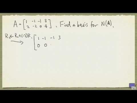 Week 9 - Basis for nullspace