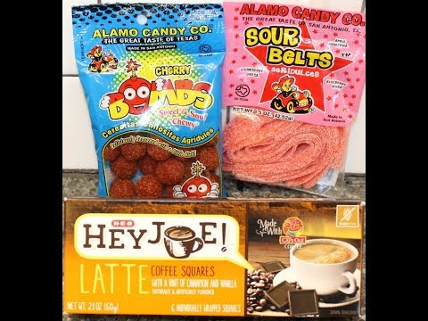 Alamo Candy Co. Cherry Bombs & Strawberry Sour Belts and H-E-B Hey Joe Latte Coffee Squares Review