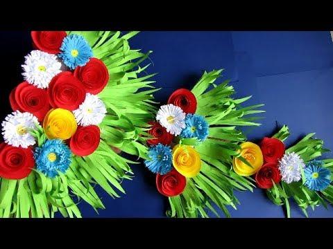 DIY. Simple Home Decor. Wall Decoration Door. Hanging Flower. Paper Craft Ideas #3