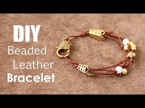 DIY Beaded Leather Bracelet Tutorial