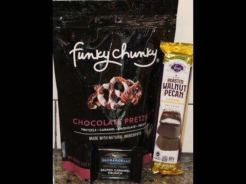 Funky Chunky Chocolate Pretzels, Vosges Roasted Walnut Pecan, Ghirardelli Dark Salted Caramel