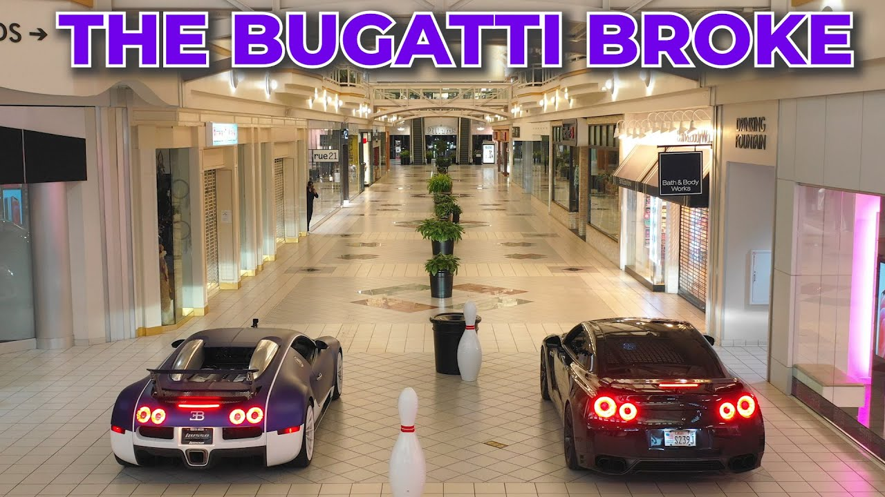 Rented a Shopping Mall to Drag Race: Bugatti vs. Nissan GTR