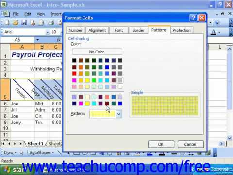 Excel 2003 Tutorial The Patterns Tab Microsoft Training Lesson 7.7