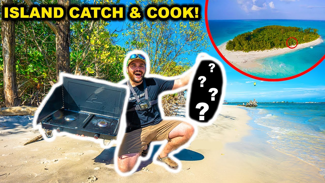 Saltwater Fishing CATCH CLEAN COOK on an ABANDONED ISLAND!!!