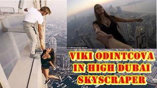 Viki Odintcova leaned out into thin air while on top of the Cayan Tower in Dubai