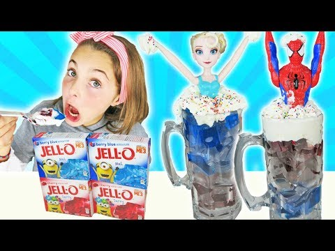 How To Make Elsa & Spider-Man No Bake Jello Dessert | Simple Recipe | Kids Cooking and Crafts