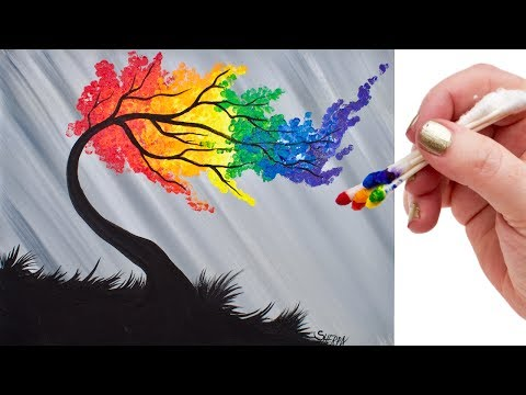 Rainbow Willow Tree Q Tip Acrylic Painting for Beginners tutorial 🌈🎨💜