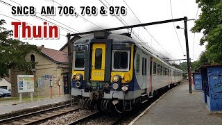 Trains Automotrices À La Gare De Thuin En Belgique