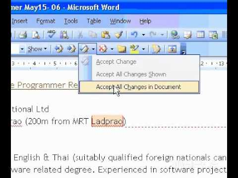 Microsoft Office Word 2003 Make tracked changes permanent