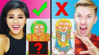 Download GINGERBREAD HOUSE MAN CHALLENGE HUSBAND VS WIFE! Video