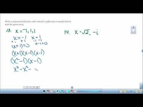 Writing Polynomial Equations given the Zeros of the Functions