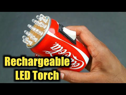 How To Make A Rechargeable LED Torch Using Mobile Battery & Pop Can