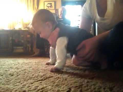 Teaching my baby how to crawl