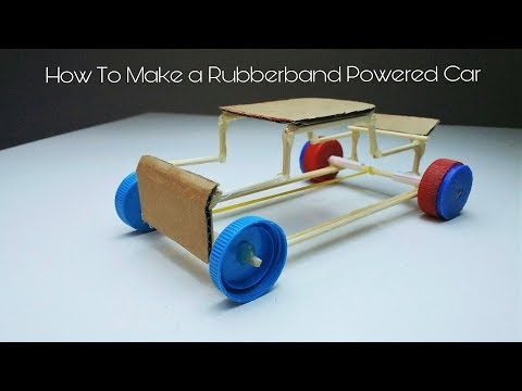 How To Make a Rubber Band powered Car_(Homemade Toy )