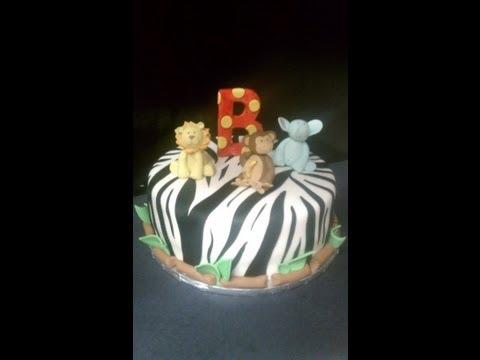 Safari Themed Cake with Zebra Print and Fondant Animals