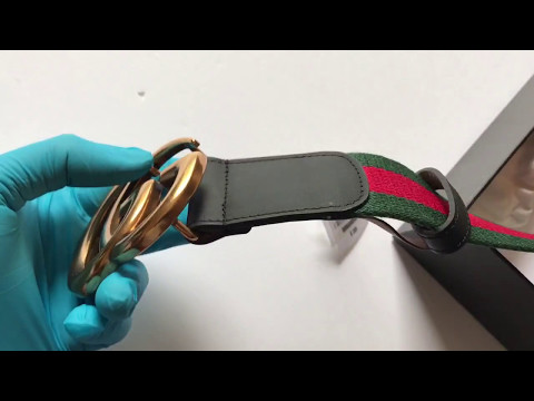 Gucci black leather green/red cotton double G buckle belt