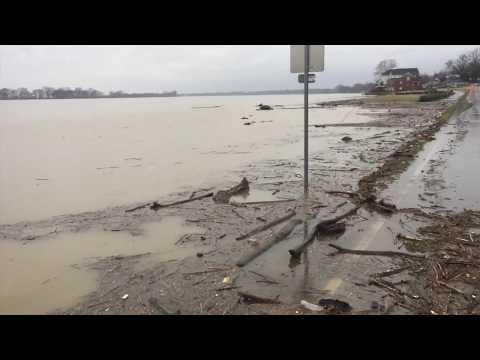 Ohio River Flooding Along Newburgh Riverfront