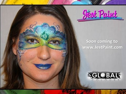 Christmas Peacock Mask with Global Colours - Face Painting Tutorial