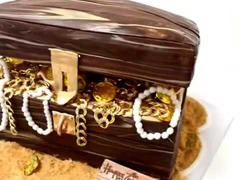How to make cake Pirate Treasure Chest Cake   Gold Coins