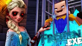 Minecraft - ICE QUEEN EXE CAPTURES AND FREEZES THE HELLO NEIGHBOR - Modded Gameplay