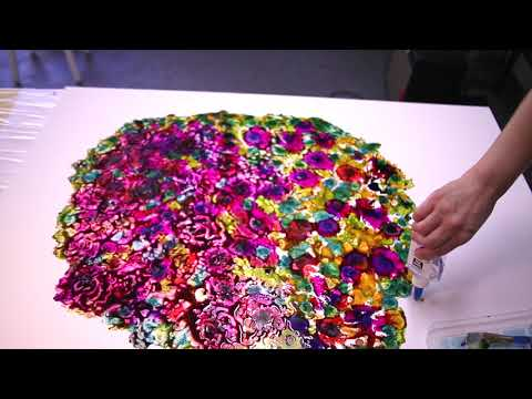 Painting a Bouquet of Flowers with Glue & Alcohol Ink