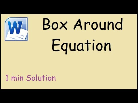 How to put a box around equation in Word